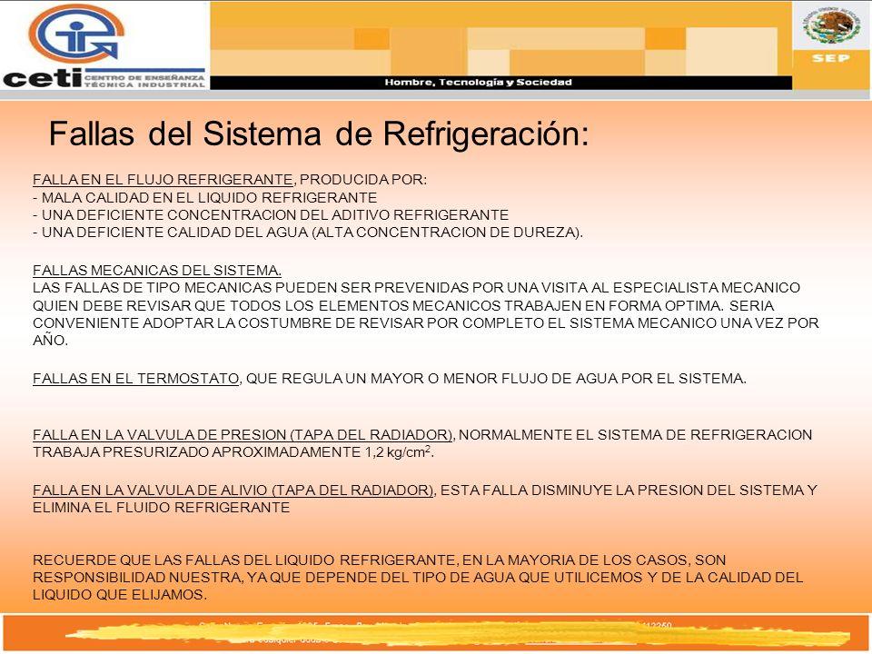 Fallas del Sistema de Refrigeración: