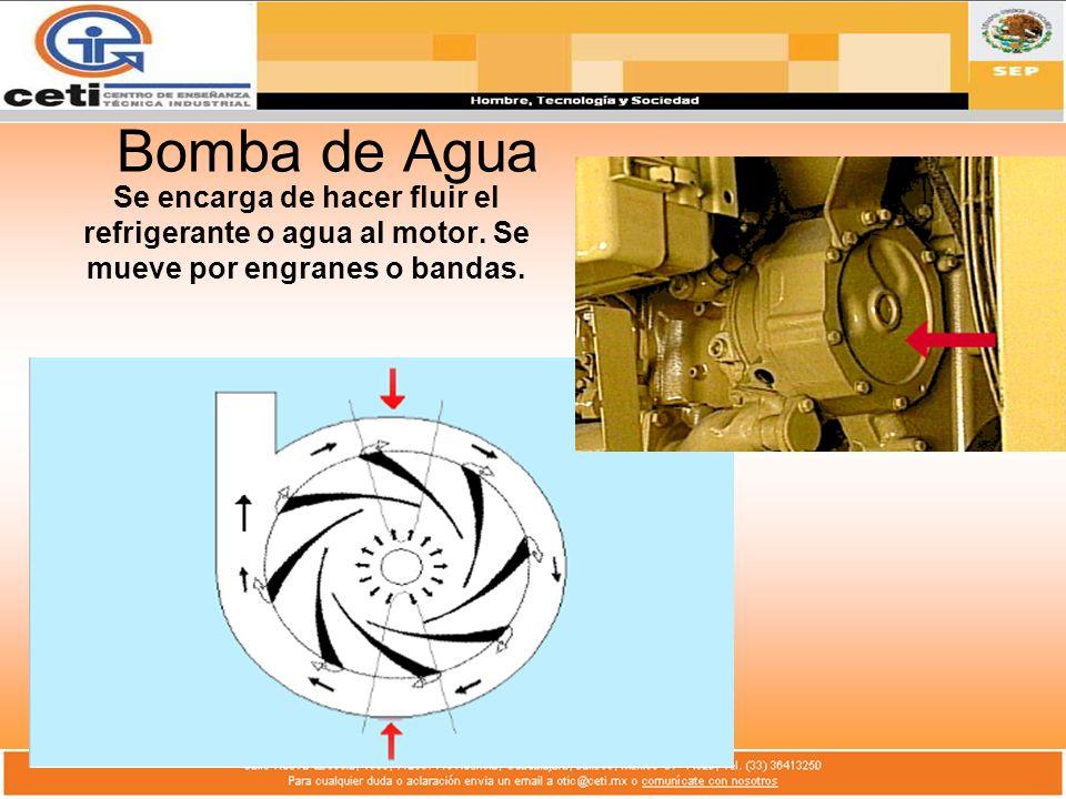 Bomba de Agua Se encarga de hacer fluir el refrigerante o agua al motor.