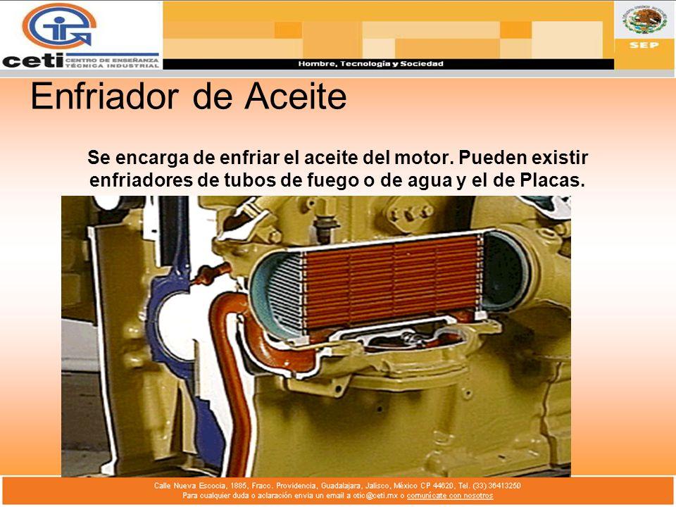 Enfriador de Aceite Se encarga de enfriar el aceite del motor.