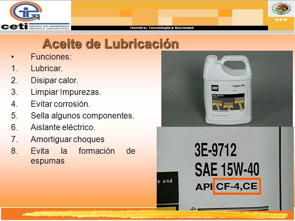 Aceite de Lubricación Funciones: Lubricar. Disipar calor.