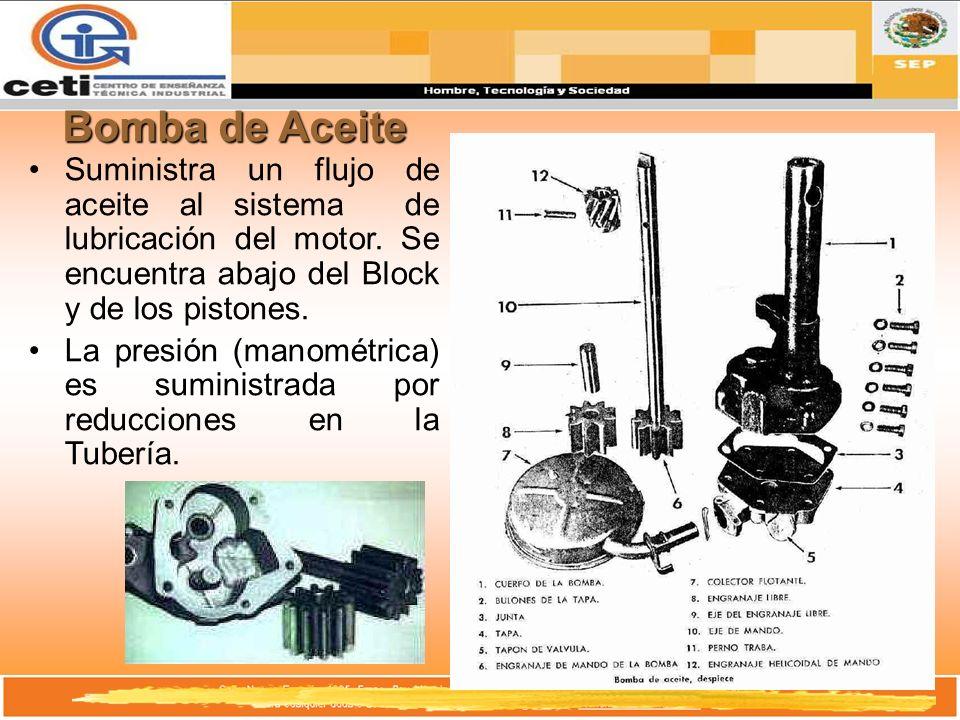 Bomba de Aceite Suministra un flujo de aceite al sistema de lubricación del motor. Se encuentra abajo del Block y de los pistones.