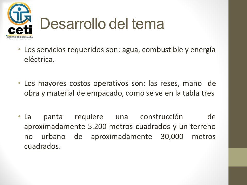 Desarrollo del tema Los servicios requeridos son: agua, combustible y energía eléctrica.