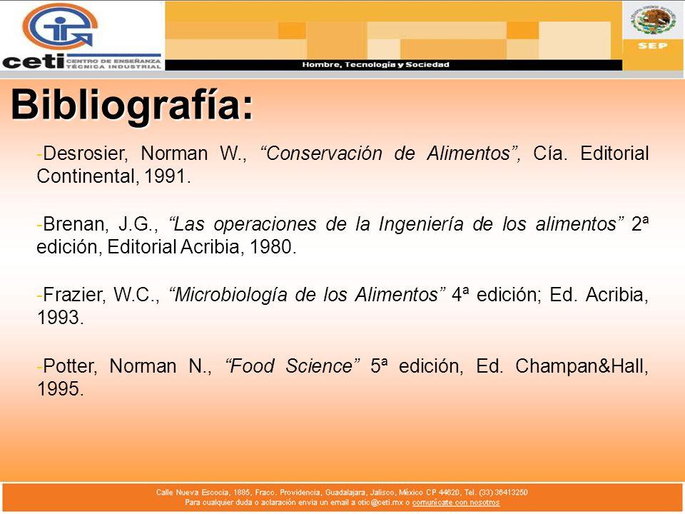Bibliografía: Desrosier, Norman W., Conservación de Alimentos , Cía. Editorial Continental, 1991.