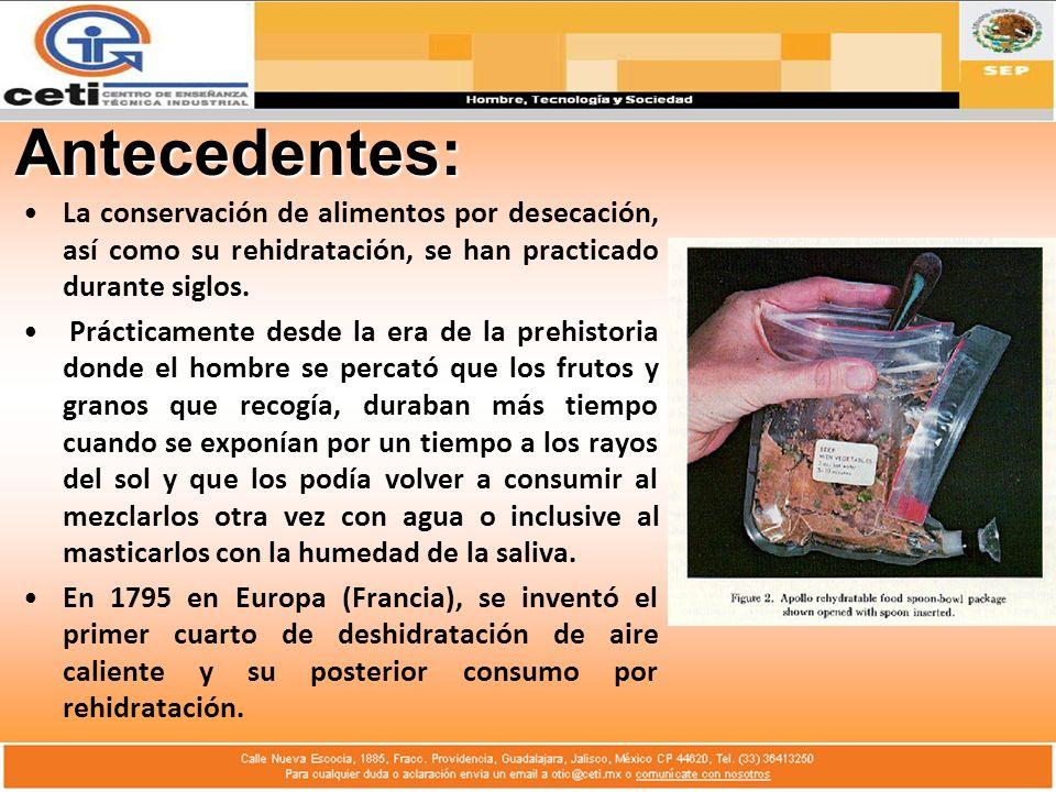 Antecedentes: La conservación de alimentos por desecación, así como su rehidratación, se han practicado durante siglos.