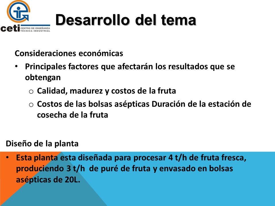 Desarrollo del tema Consideraciones económicas