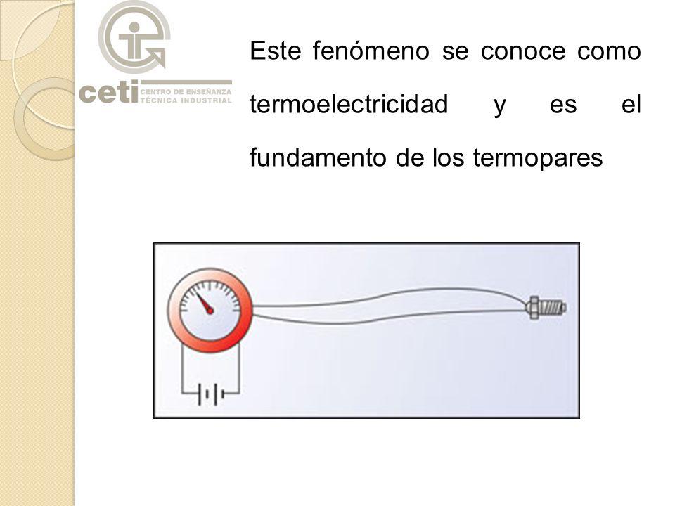 Este fenómeno se conoce como termoelectricidad y es el fundamento de los termopares