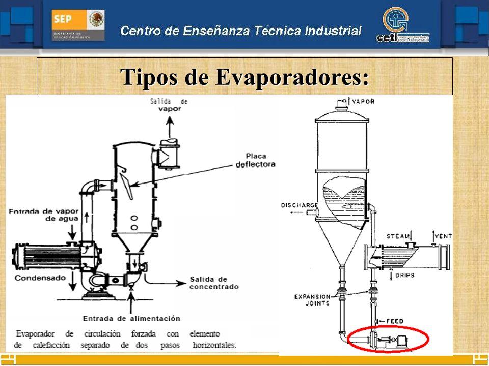 Tipos de Evaporadores: