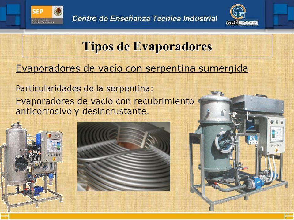 Tipos de Evaporadores Evaporadores de vacío con serpentina sumergida
