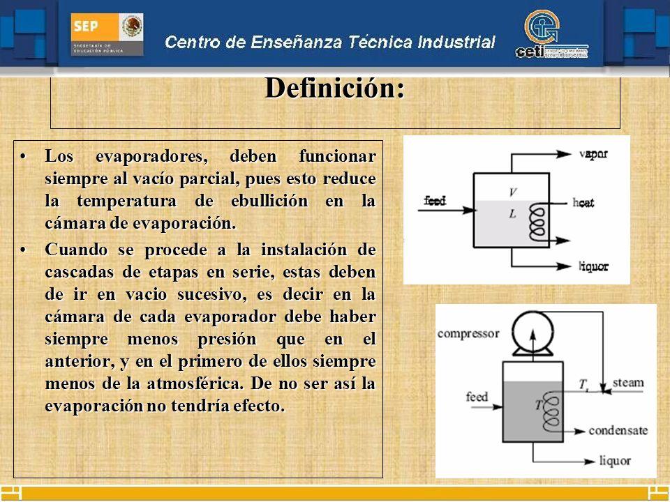 Definición:Los evaporadores, deben funcionar siempre al vacío parcial, pues esto reduce la temperatura de ebullición en la cámara de evaporación.