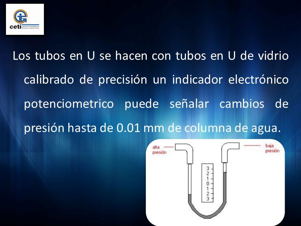 Los tubos en U se hacen con tubos en U de vidrio calibrado de precisión un indicador electrónico potenciometrico puede señalar cambios de presión hasta de 0.01 mm de columna de agua.