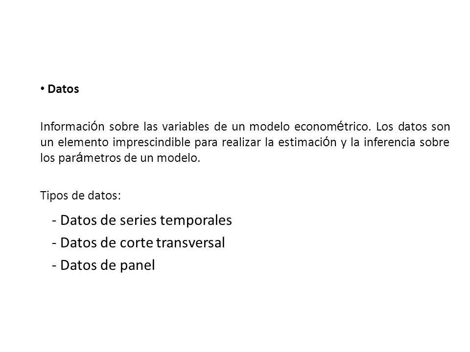 - Datos de series temporales Datos de corte transversal Datos de panel