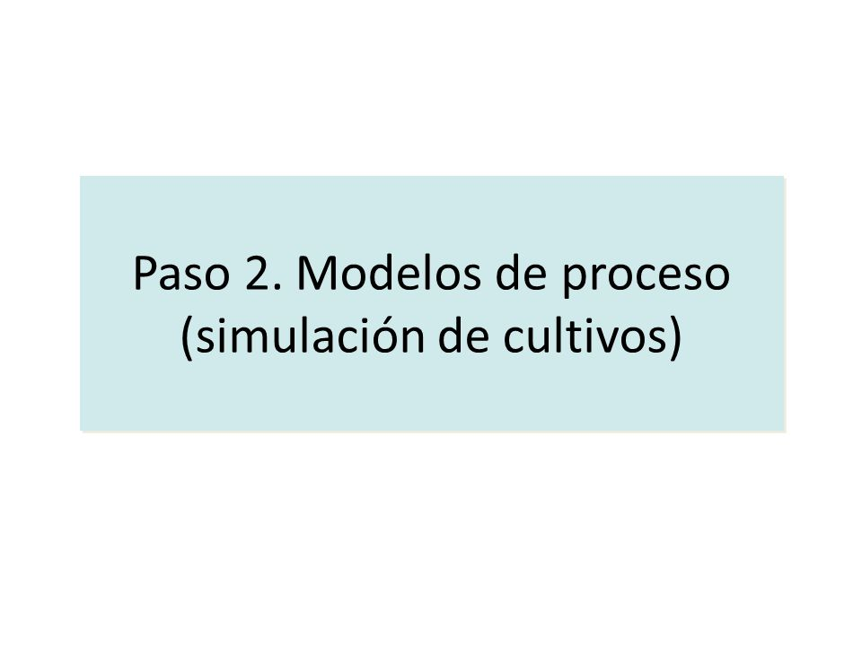 Paso 2. Modelos de proceso (simulación de cultivos)