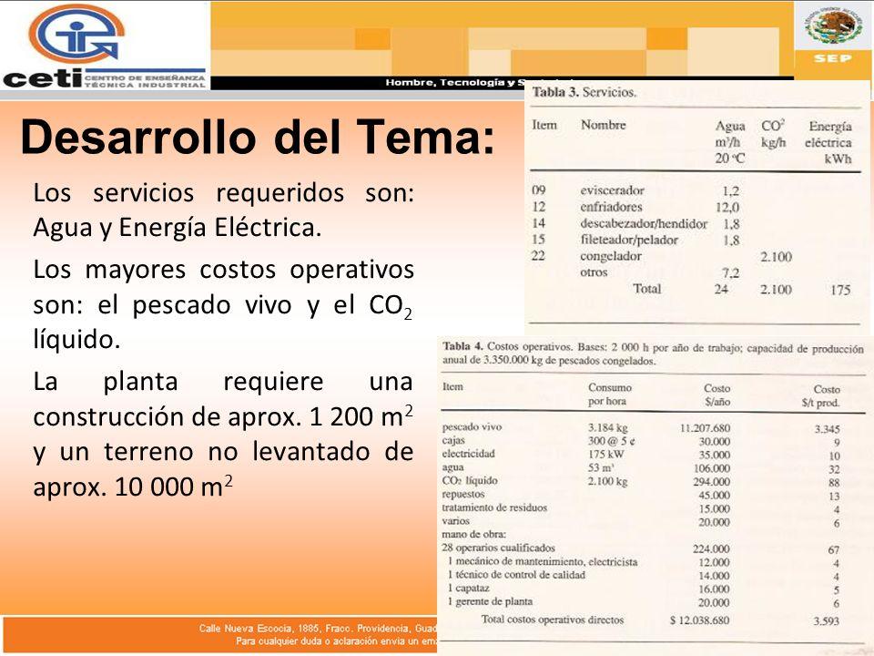 Desarrollo del Tema: Los servicios requeridos son: Agua y Energía Eléctrica. Los mayores costos operativos son: el pescado vivo y el CO2 líquido.