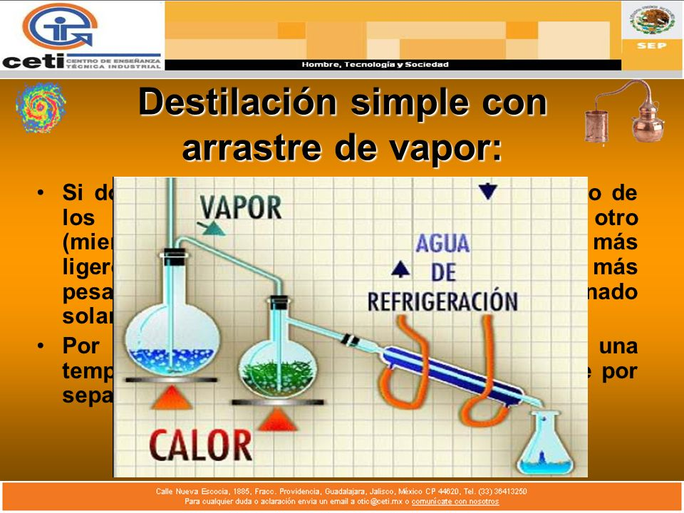 Destilación simple con arrastre de vapor: