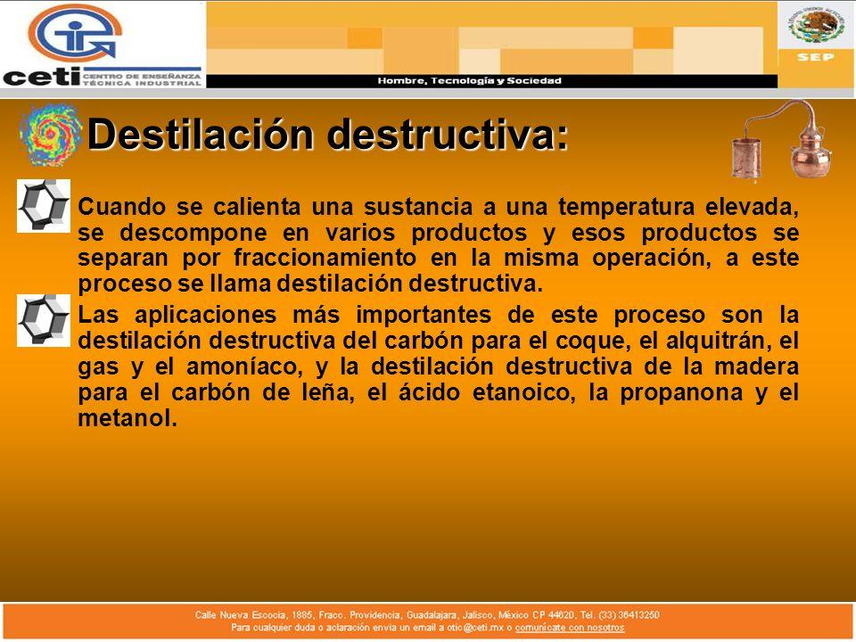 Destilación destructiva: