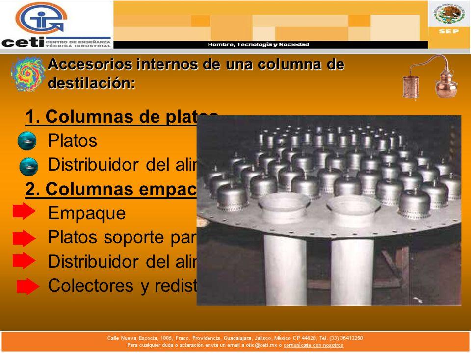 Accesorios internos de una columna de destilación:
