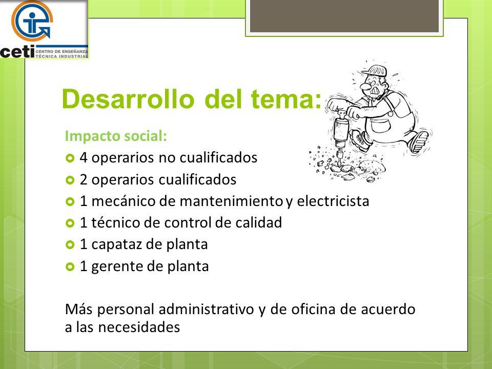 Desarrollo del tema: Impacto social: 4 operarios no cualificados
