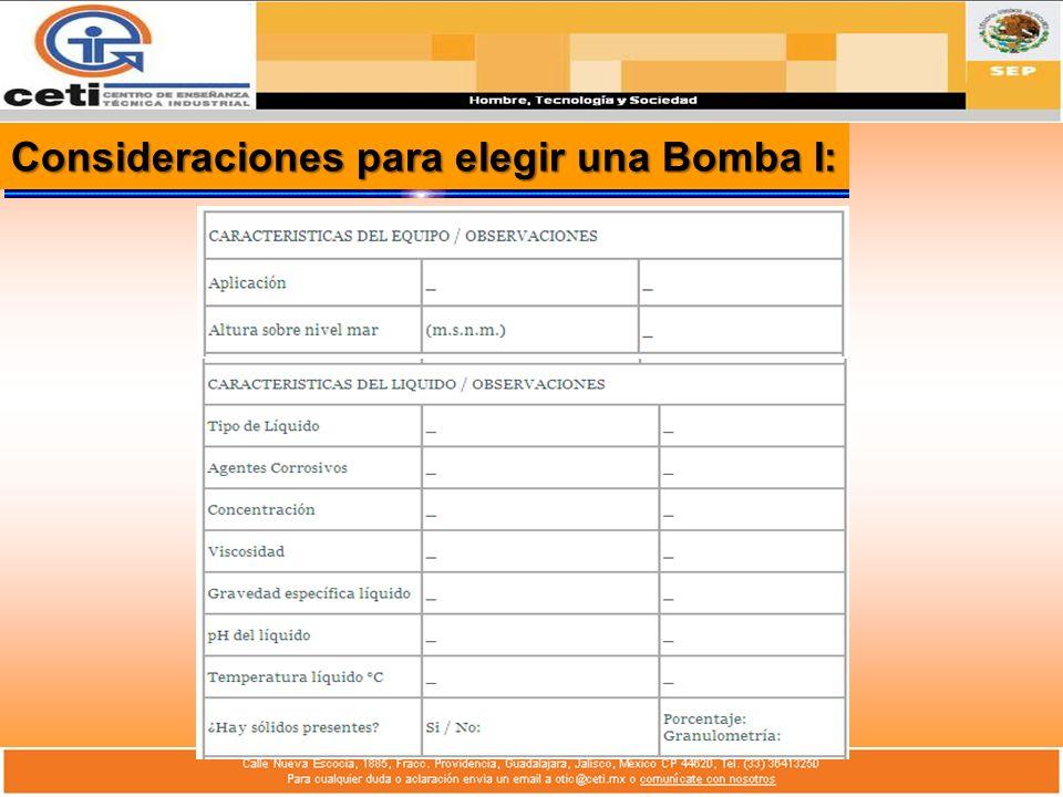 Consideraciones para elegir una Bomba I: