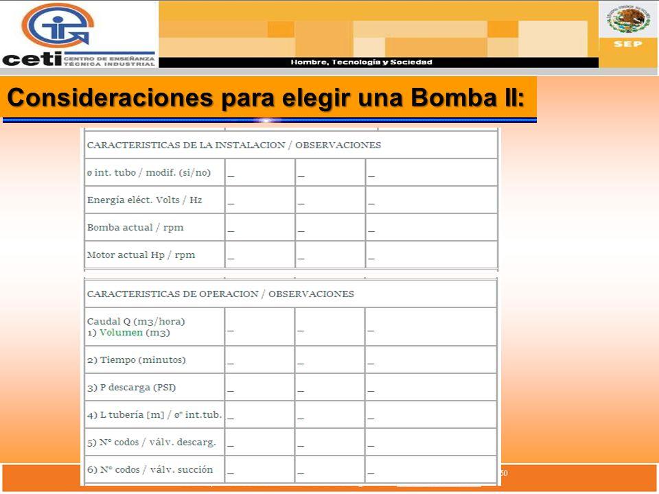 Consideraciones para elegir una Bomba II: