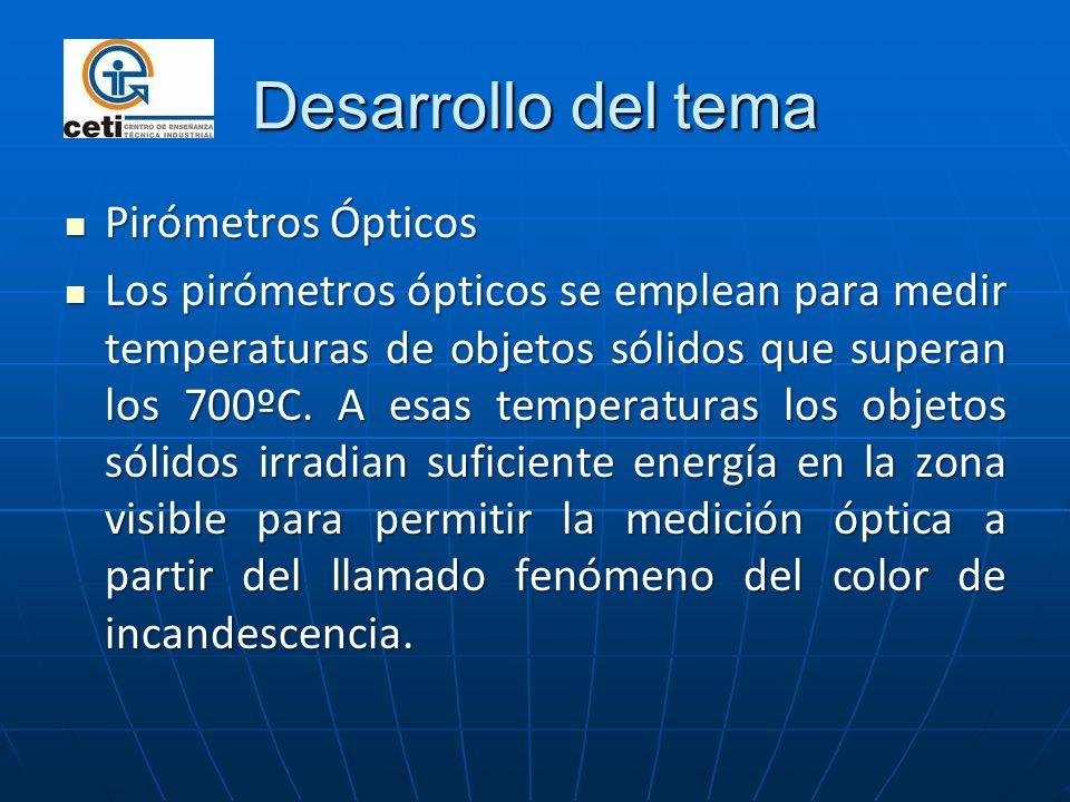 Desarrollo del tema Pirómetros Ópticos