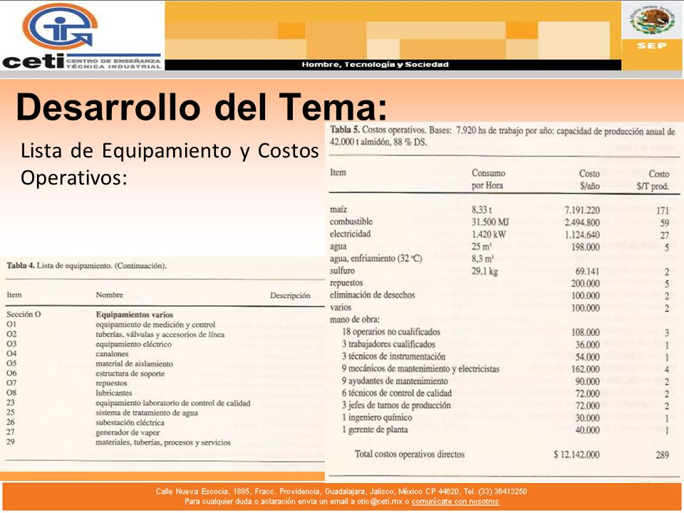 Lista de Equipamiento y Costos Operativos: