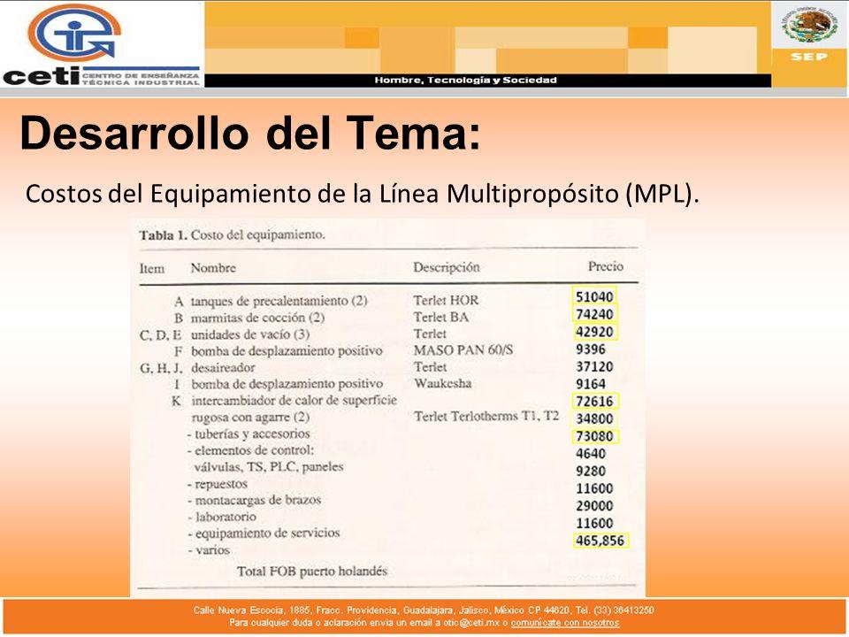Costos del Equipamiento de la Línea Multipropósito (MPL).