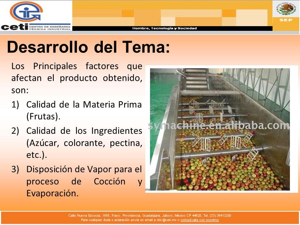 Desarrollo del Tema: Los Principales factores que afectan el producto obtenido, son: Calidad de la Materia Prima (Frutas).