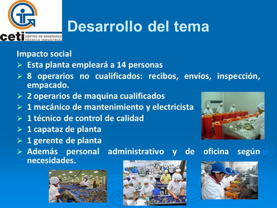 Desarrollo del tema Impacto social Esta planta empleará a 14 personas