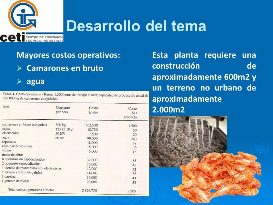 Desarrollo del tema Mayores costos operativos: Camarones en bruto agua