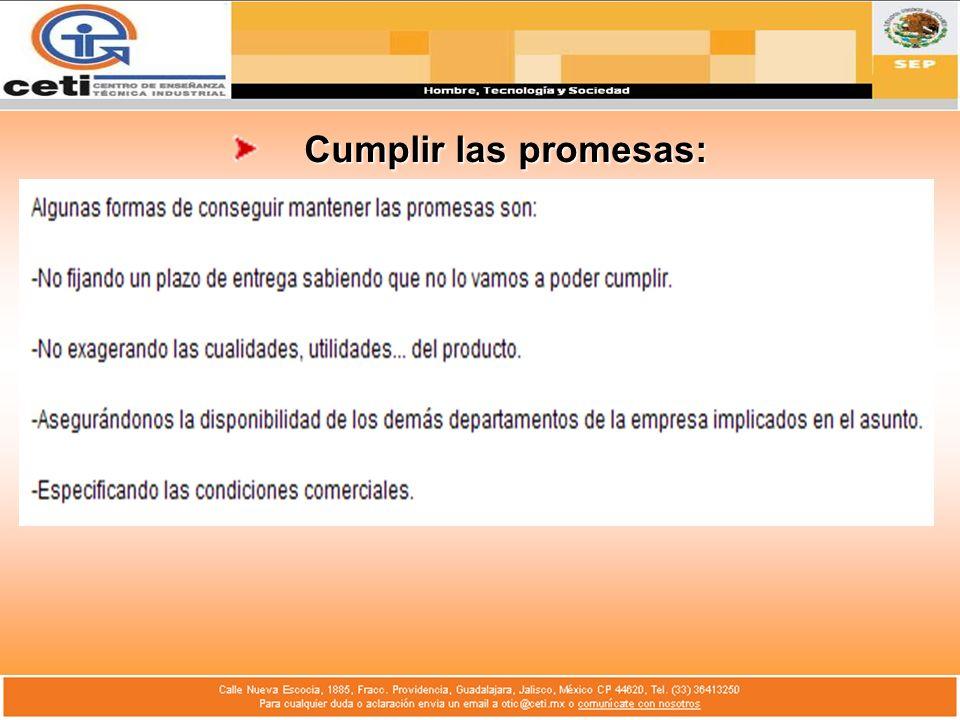 Cumplir las promesas: