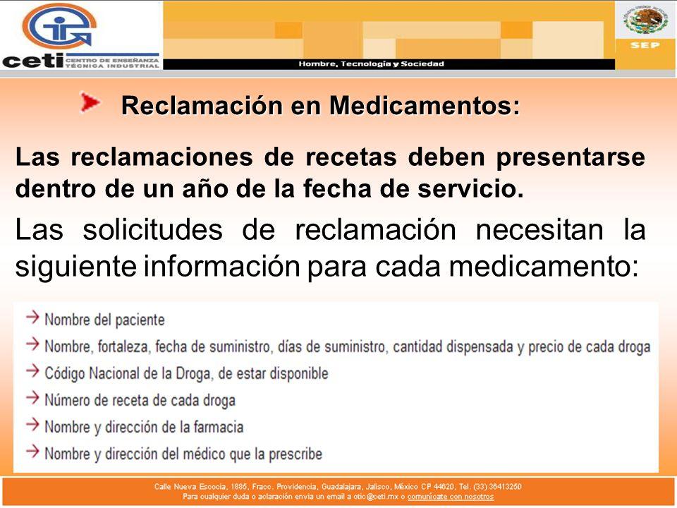 Reclamación en Medicamentos: