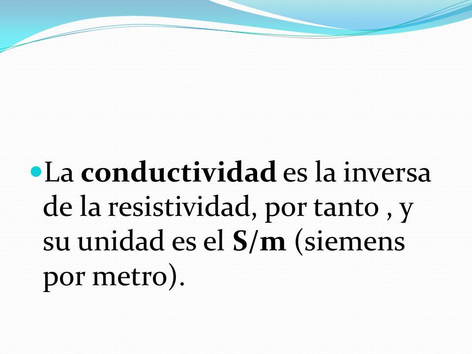 La conductividad es la inversa de la resistividad, por tanto , y su unidad es el S/m (siemens por metro).