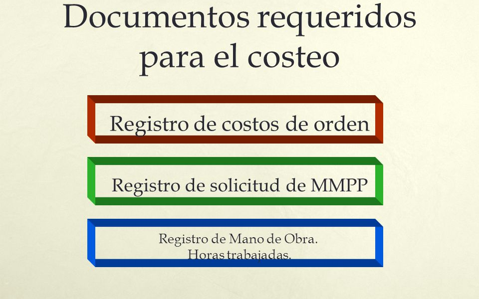 Documentos requeridos para el costeo