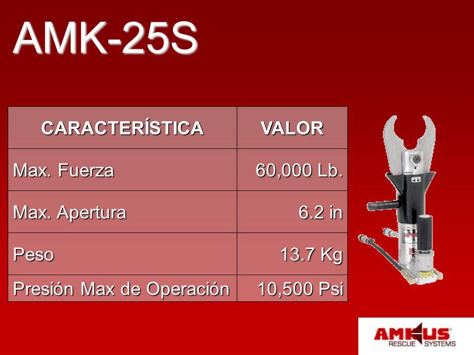 AMK-25S CARACTERÍSTICA VALOR Max. Fuerza 60,000 Lb. Max. Apertura