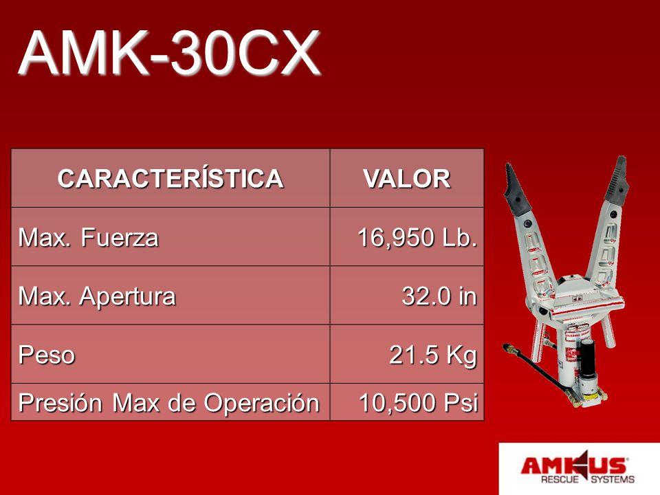 AMK-30CX CARACTERÍSTICA VALOR Max. Fuerza 16,950 Lb. Max. Apertura