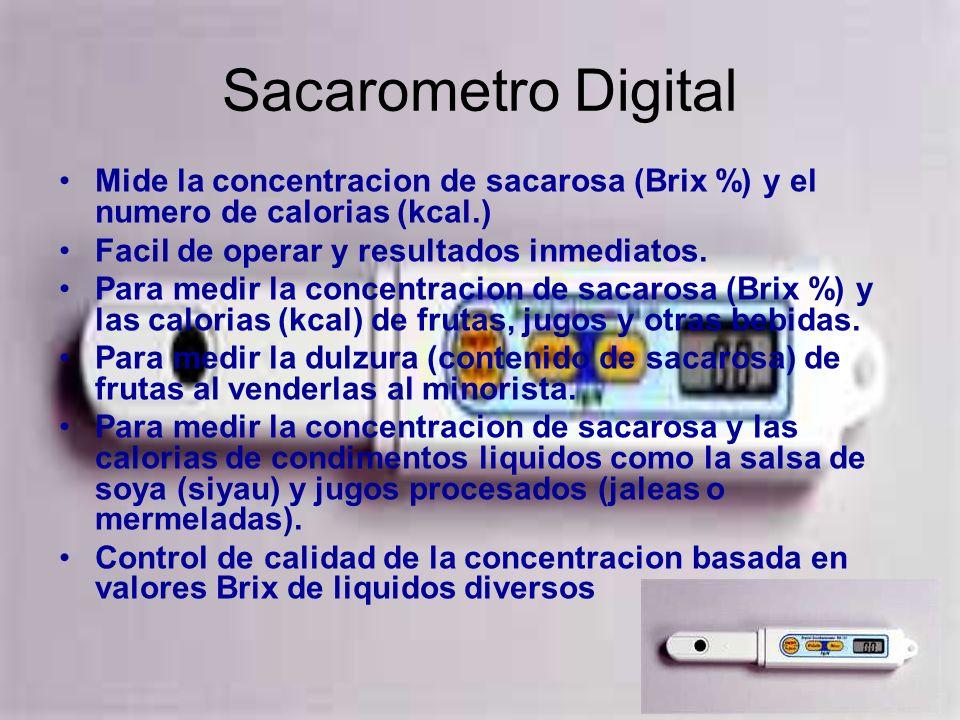 Sacarometro Digital Mide la concentracion de sacarosa (Brix %) y el numero de calorias (kcal.) Facil de operar y resultados inmediatos.