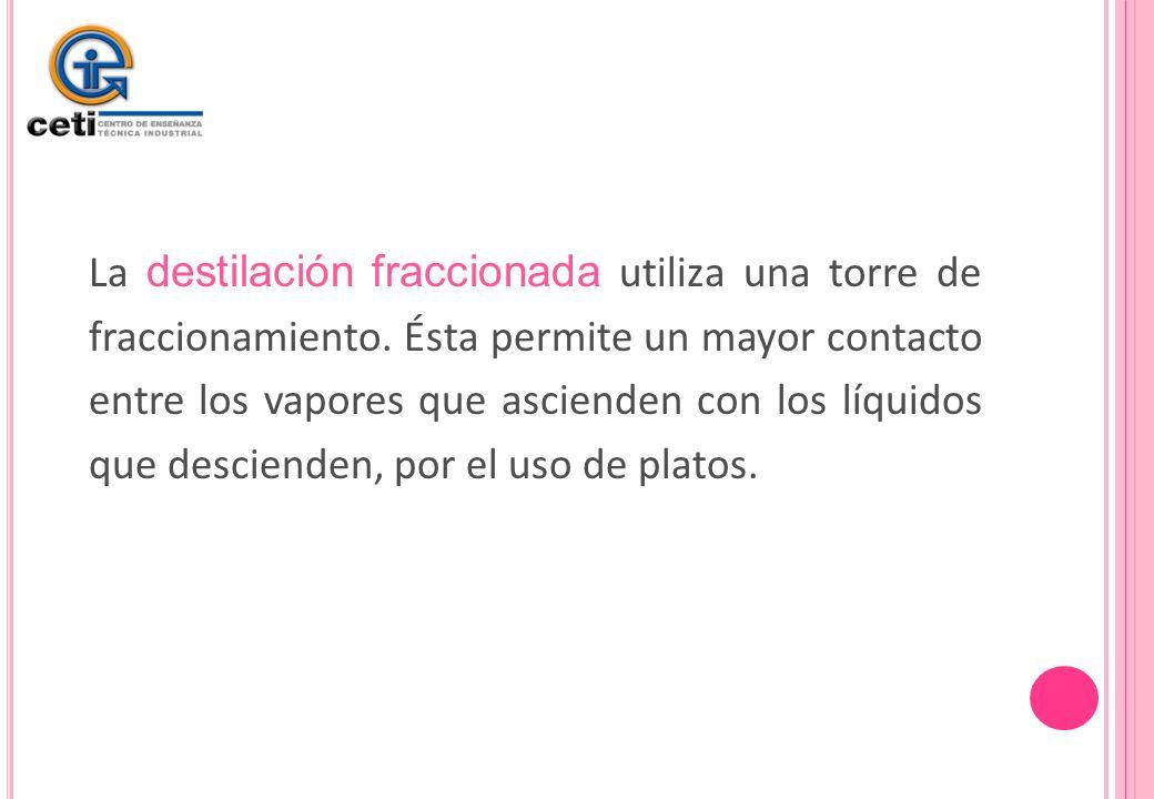 La destilación fraccionada utiliza una torre de fraccionamiento
