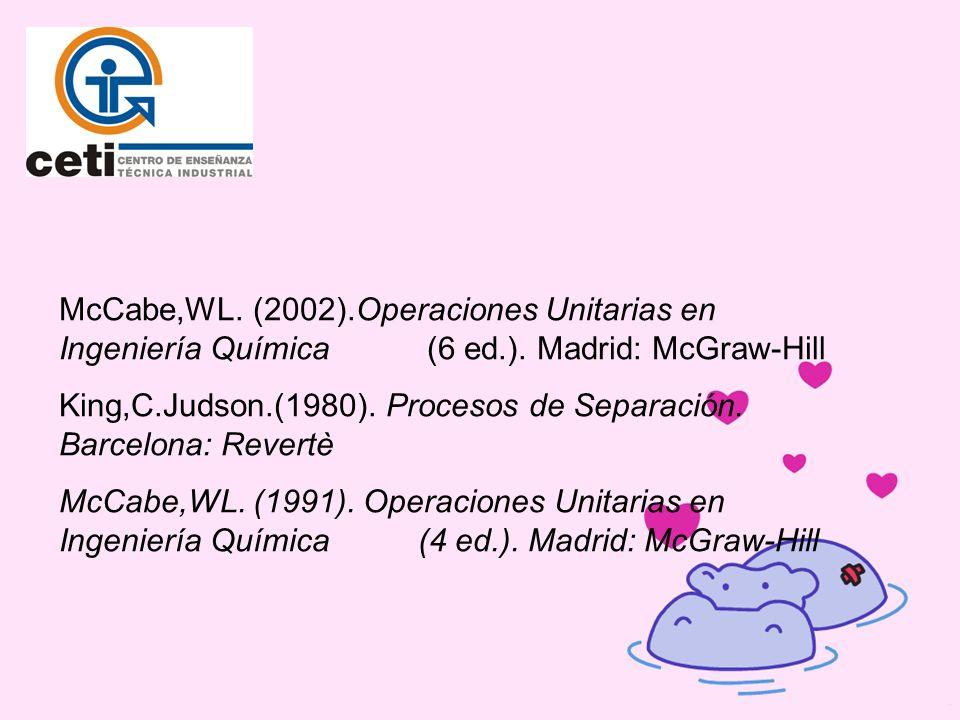 McCabe,WL. (2002).Operaciones Unitarias en Ingeniería Química (6 ed.). Madrid: McGraw-Hill
