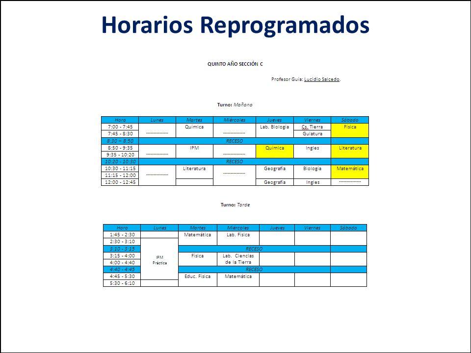 Horarios Reprogramados