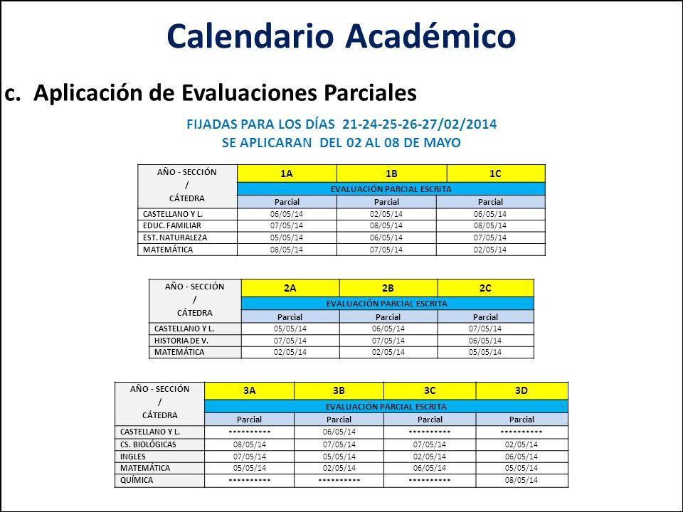Calendario Académico c. Aplicación de Evaluaciones Parciales