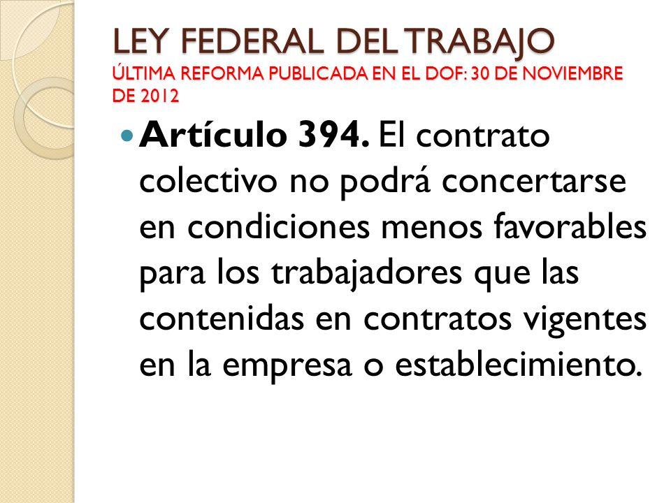 LEY FEDERAL DEL TRABAJO ÚLTIMA REFORMA PUBLICADA EN EL DOF: 30 DE NOVIEMBRE DE 2012