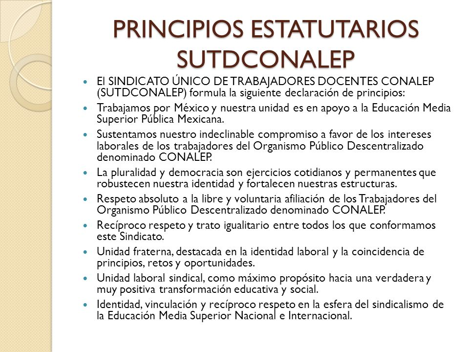 PRINCIPIOS ESTATUTARIOS SUTDCONALEP