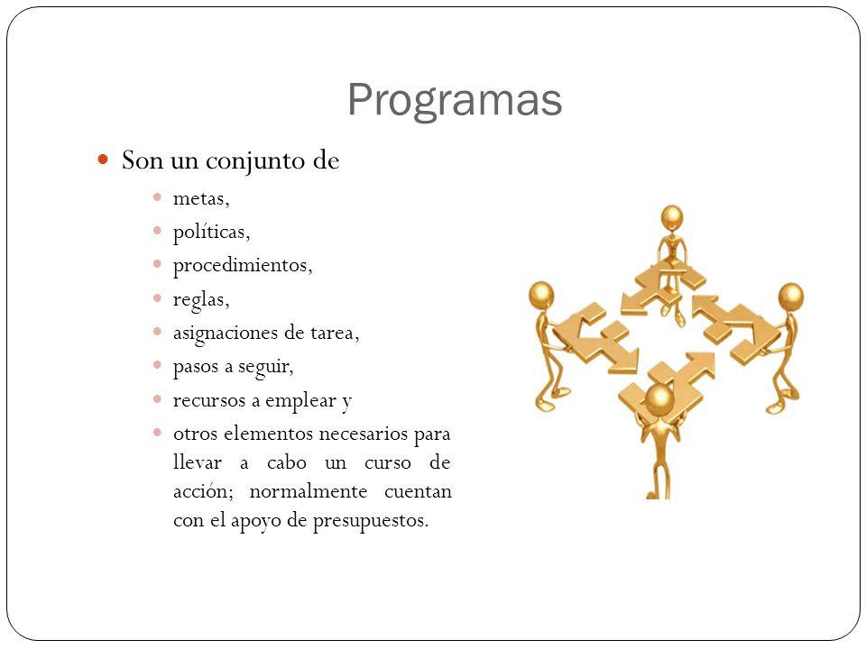 Programas Son un conjunto de metas, políticas, procedimientos, reglas,