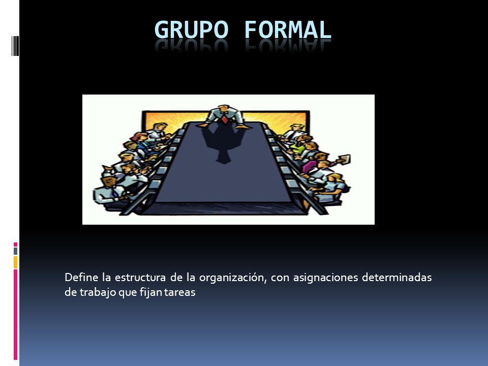GRUPO FORMAL Define la estructura de la organización, con asignaciones determinadas de trabajo que fijan tareas.