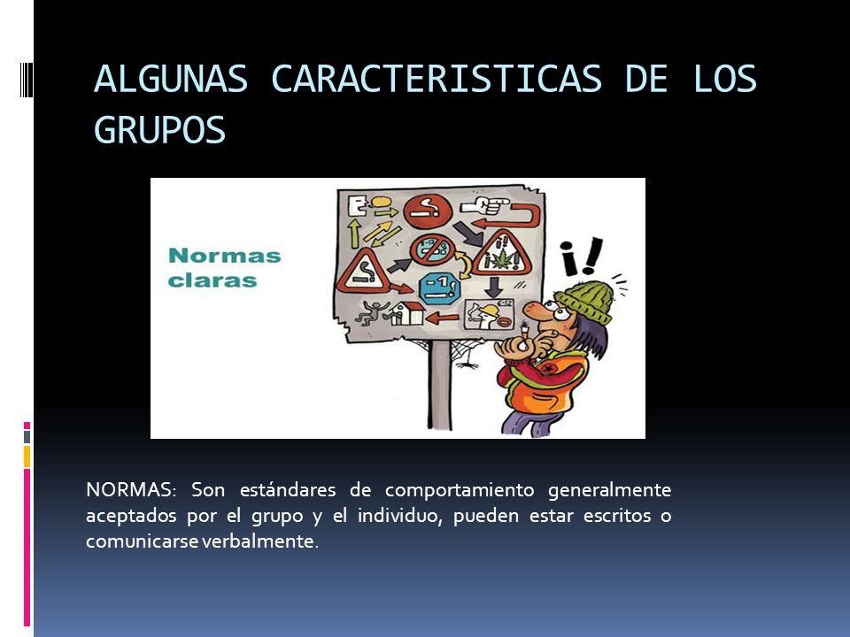 ALGUNAS CARACTERISTICAS DE LOS GRUPOS
