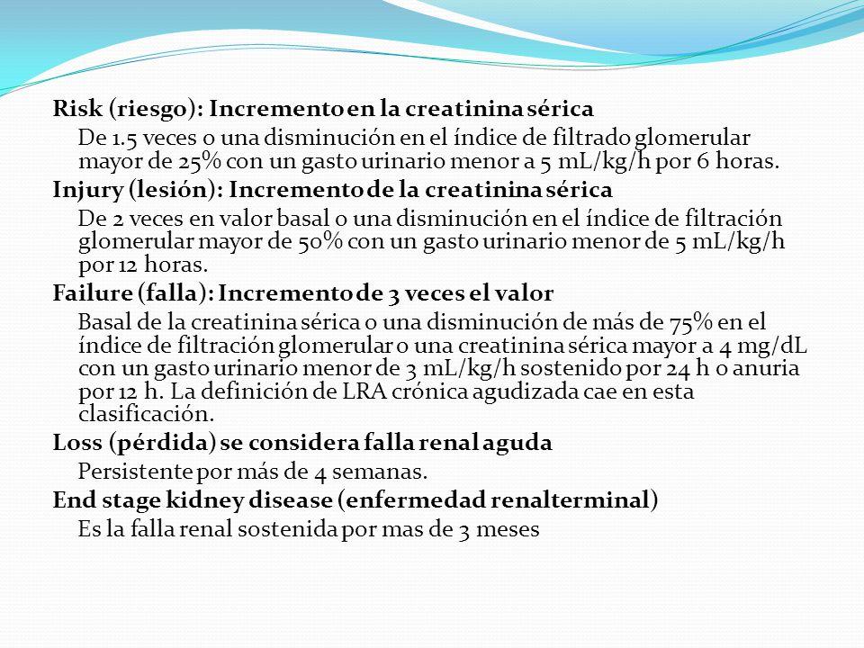 Risk (riesgo): Incremento en la creatinina sérica De 1