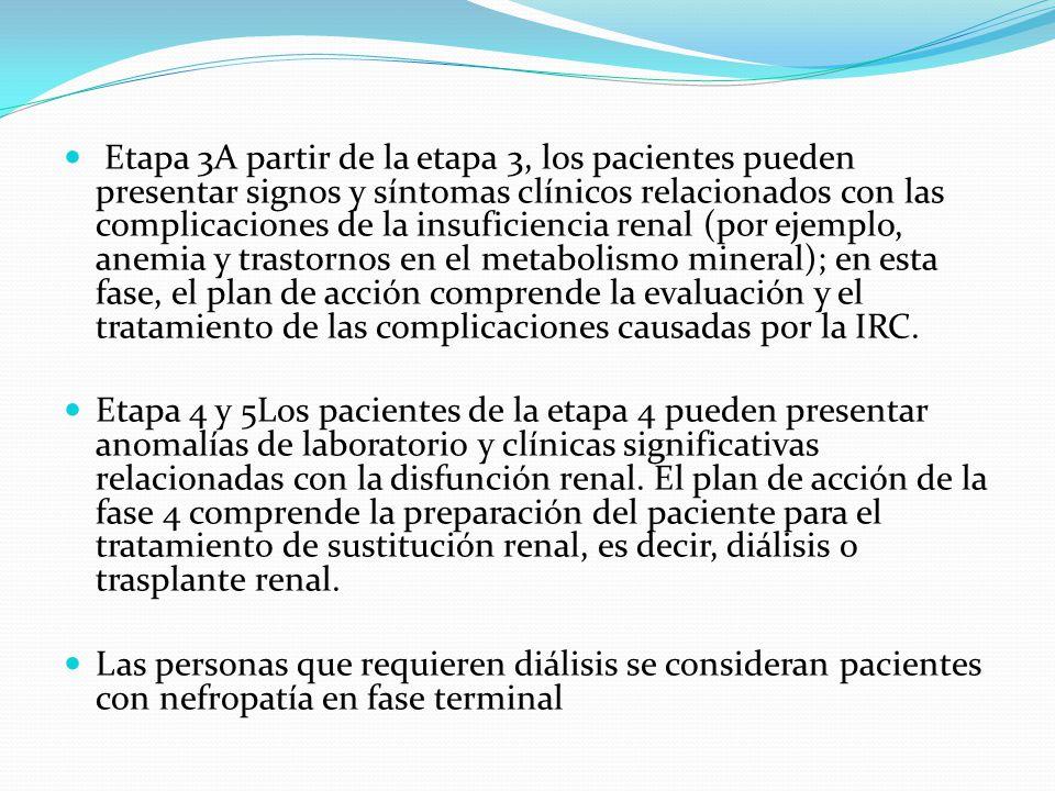 Etapa 3A partir de la etapa 3, los pacientes pueden presentar signos y síntomas clínicos relacionados con las complicaciones de la insuficiencia renal (por ejemplo, anemia y trastornos en el metabolismo mineral); en esta fase, el plan de acción comprende la evaluación y el tratamiento de las complicaciones causadas por la IRC.
