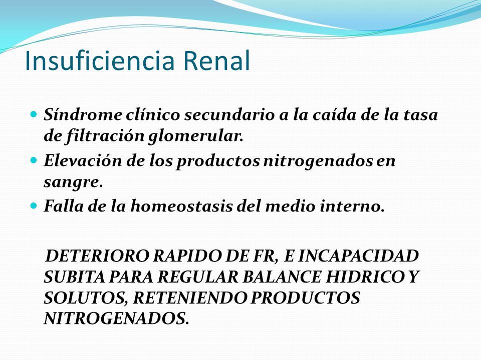 Insuficiencia Renal Síndrome clínico secundario a la caída de la tasa de filtración glomerular. Elevación de los productos nitrogenados en sangre.