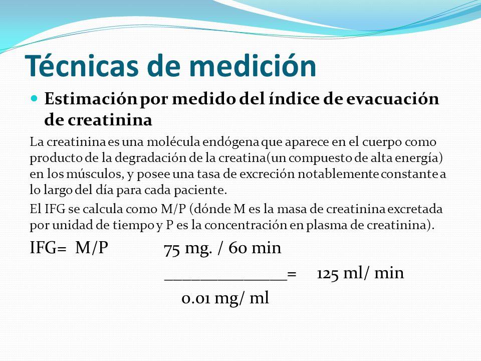 Técnicas de medición Estimación por medido del índice de evacuación de creatinina.