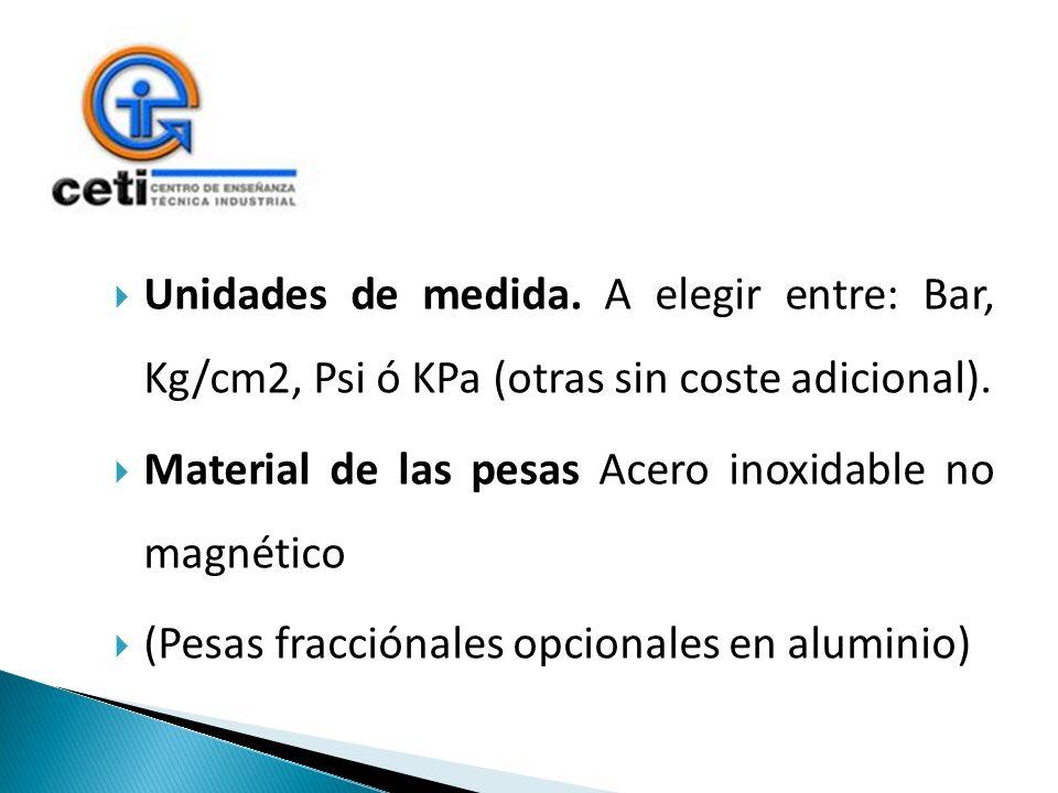Unidades de medida. A elegir entre: Bar, Kg/cm2, Psi ó KPa (otras sin coste adicional).